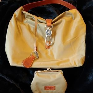 Dooney & Bourke Canvas & Leather Bag W/ accessorie